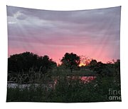 Pink Sunset With Green Riverbank Tapestry