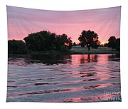 Pink Sunset With Soft Waves Tapestry
