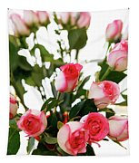 Pink Trimmed Roses Tapestry