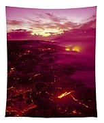 Pink Volcano Sunrise Tapestry
