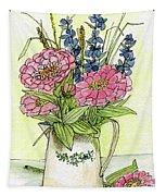 Pink Zinneas Tapestry