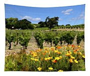 Pinot Noir And Poppies Tapestry