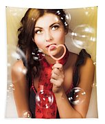 Pinup Girl Blowing Love Kiss. American Retro Style Tapestry