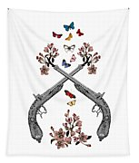 Pistols Wit Flowers And Butterflies Tapestry