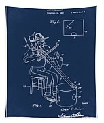 Pitch Fork Fiddle And Drum Patent 1936 - Blue Tapestry