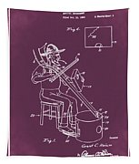 Pitch Fork Fiddle And Drum Patent 1936 - Red Tapestry