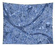 Pittsburgh Map Blue Tapestry