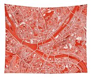 Pittsburgh Map Red Tapestry