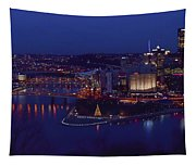 Pittsburgh Skyline At Night Christmas Time Tapestry