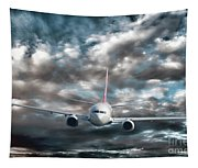 Plane In Storm Tapestry