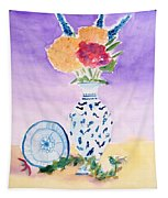 Plate And Flowers Tapestry