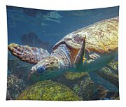 Playful Green Sea Turtle Tapestry
