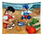 Playtime At The Beach Tapestry