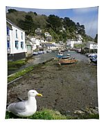 Polperro Harbour Cornwall And Seagull Tapestry