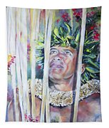 Polynesian Maori Warrior With Spears Tapestry