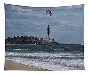 Pompano Beach Kiteboarder Hillsboro Lighthouse Catching Major Air Tapestry