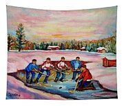 Pond Hockey Warm Day Tapestry
