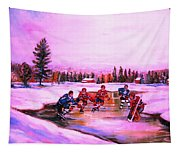 Pond Hockey Warm Skies Tapestry