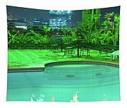 Pool With City Lights Tapestry