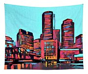 Pop Art Boston Skyline Tapestry
