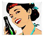 Pop Art Girl With Soda Bottle Tapestry