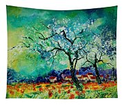 Poppies And Appletrees In Blossom Tapestry