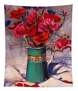 Poppies And Cornflowers In Green Jug Tapestry
