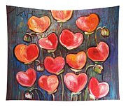 Poppies Are Hearts Of Love We Can Give Away Tapestry