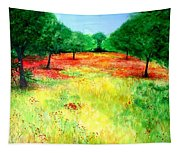 Poppies In The Almond Grove Tapestry