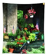 Porch With Geraniums And American Flags Tapestry