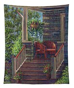 Porch With Red Wicker Chairs Tapestry
