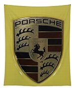 Porsche Emblem On Racing Yellow Tapestry