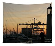 Port Of Oakland Sunset Tapestry