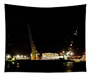 Port Of Tampa At Night Tapestry