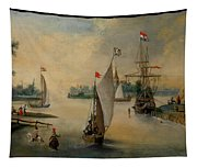 Port Scene With Sailing Ships Tapestry