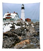 Portland Head Light In Winter Tapestry