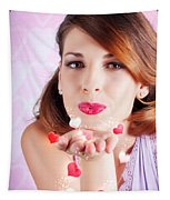Portrait Of A Beautiful Woman Blowing Heart Kiss Tapestry