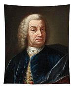 Portrait Of A Gentleman Half Length Wearing A Wig And A Blue Velvet Cape Tapestry