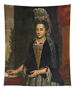 Portrait Of A Lady Half Length In A Mantua Gown And Lace Frelange Headdress Tapestry
