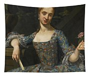 Portrait Of A Lady In An Elaborately Embroidered Blue Dress Tapestry
