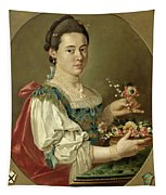 Portrait Of A Lady With A Flower Basket Tapestry