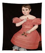 Portrait Of A Rosy Cheeked Young Girl In A Pink Dress Tapestry
