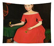 Portrait Of A Winsome Young Girl In Red With Green Slippers Dog And Bird Tapestry