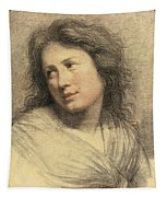 Portrait Of A Young Woman Looking Over Her Shoulder Tapestry