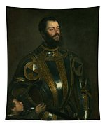 Portrait Of Alfonso D'avalon -  Marquis Of Vasto - In Armor With A Page Tapestry