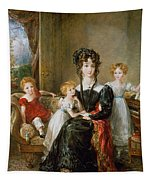 Portrait Of Elizabeth Lea And Her Children Tapestry