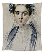 Portrait Of Her Majesty Queen Victoria As A Young Woman By Emile Desmaisons Tapestry