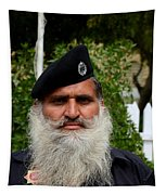 Portrait Of Pakistani Security Guard With Flowing White Beard Karachi Pakistan Tapestry