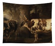 Portrait Of Two Oxen - The Property Of The Earl Of Powis Tapestry