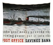Post Office Savings Bank - Steamliner - Retro Travel Poster - Vintage Poster Tapestry